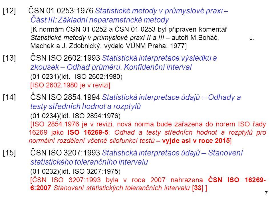 [12] ČSN 01 0253:1976 Statistické metody v průmyslové praxi –